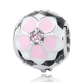 Sterling Silver Charm Magnolia Flower Ball - 6037