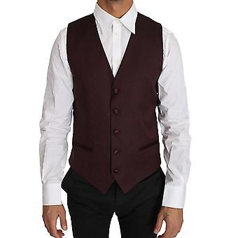 Purple pattern wool silk waistcoat vest