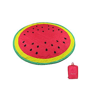 Luminous machine washable round watermelon picnic mat red