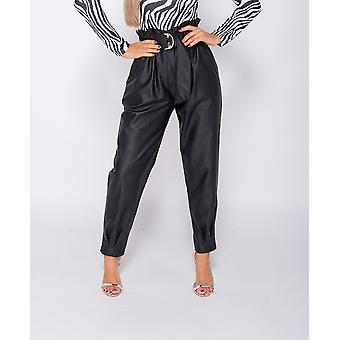 PU Paperbag Waist Pleated Him Tapered Trousers - - - Black