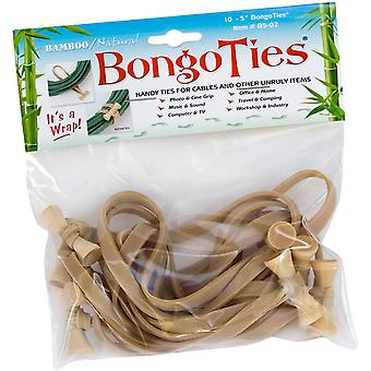 BongoTies All Natural Reusable Cable Tie Wraps - 10-Pack - Natural