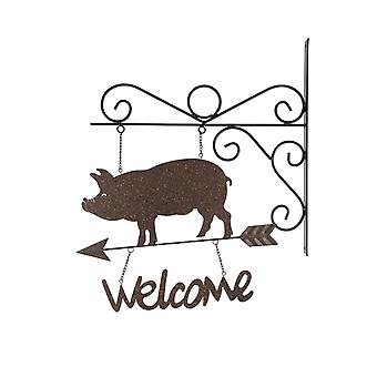 Rustic Country Farmhouse Pig Wall Mount Hanging Welcome Sign With Bracket