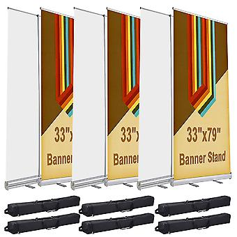 """Yescom 33x79"""" Aluminum Retractable Roll Up Banner Stand Trade Show Display Promo Sign Holder with Bag (Pack of 6)"""