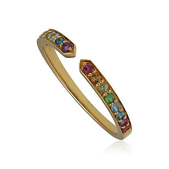 Rainbow Gemstone Open Ring in Gold Plated Sterling Silver 270R059801925