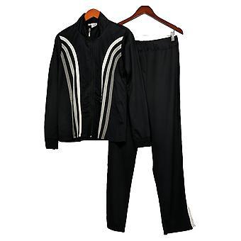 Masseys Set Contrast-Striped Track Suit 2-Piece Black
