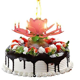 1Pcs Birthday Cake Lotus Flower Candle Music Light Art Candle Lights