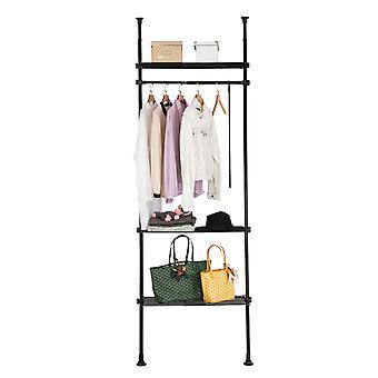 SoBuy KLS07-SCH, Adjustable Wardrobe Organiser Clothes Shelf System Hanging Rail Telescopic Clothes Storage Shelving, Black