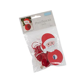 Santa Pom Pom Hanging Ornament Craft Kit