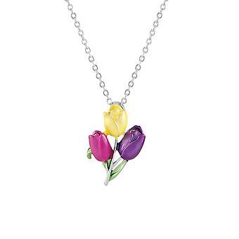 Eternal Collection Tulip Multi Coloured Enamel Flower Pendant Necklace