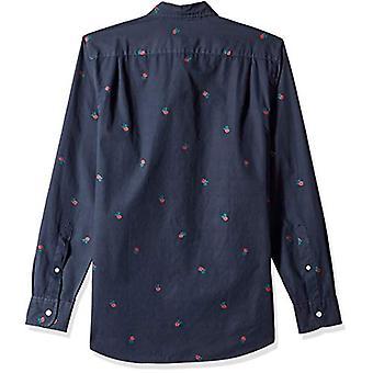 Goodthreads Men's Slim-Fit Camicia Dobby a maniche lunghe, -rosa navy, Grande