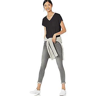 Brand - Goodthreads Women's Washed Jersey Cotton Pocket V-Neck T-Shirt, Black, Medium