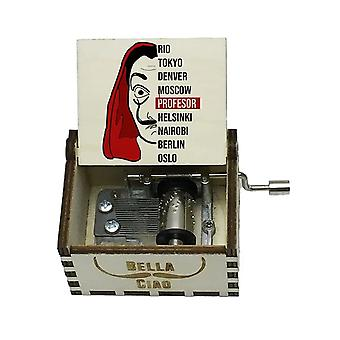 Bella Ciao Main Crank White Wooden Music Box (Money Heist)