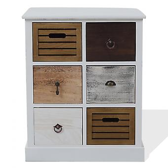 Rebecca Furniture Mobile Chest of Drawers 6 Drawers Brown Grey White 68x56x27
