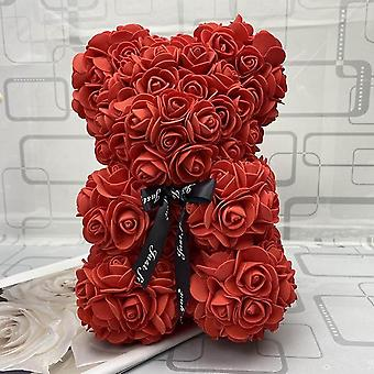 Cute Rose Flower Teddy Bear Artificial Decoration Christmas, Valentines