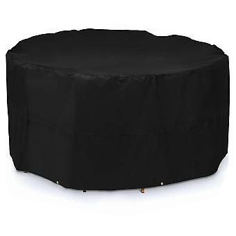 Round garden furniture cover, black outdoor table and chair dust cover, waterproof Oxford cloth