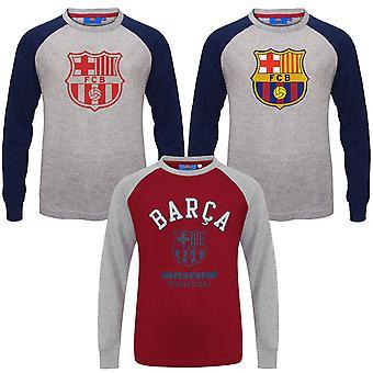 Fc Barcelona Oficial de Futebol Presente Kids Crest Manga Longa Raglan T-Shirt