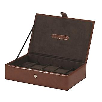 Leatherette watch box for 10 Watches, Brown - Rhys