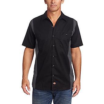 Dickies Men's Short-Sleeve Two-Tone Work Shirt, Black/Charcoal, 2X-Large