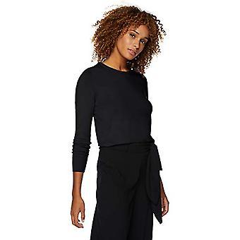 العلامة التجارية - Lark & Ro Women & apos;s Long Sleeve Crewneck ستر، أسود، متوسط