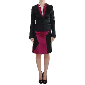 Exte Black Pink Two Piece Suit Rok & Blazer SIG30858-2 Exte Black Pink Two Piece Suit Rok