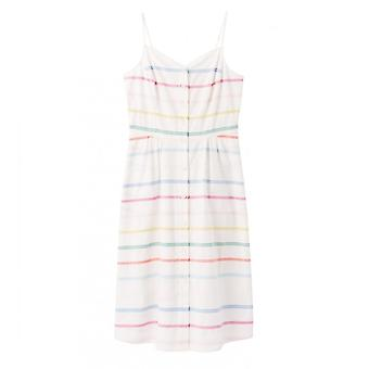 Joules Abby Button Through Strappy Dress (white Multi Stripe)