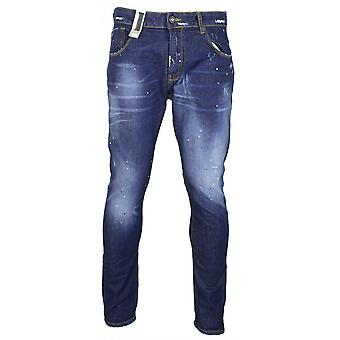 883 Police Moriarty Slim Fit Dark Wash Paint Jeans