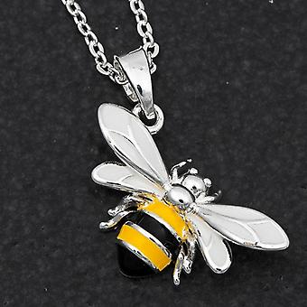 Handpainted Sparkle Bee Silver Placed Necklace - Gift Boxed