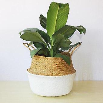 Rattan Stroh Seegras Falten hängen Korb, Blumentopf, Vase für Home Garden