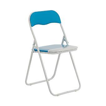 Azul bebé / blanco acolchado, plegable, silla de escritorio