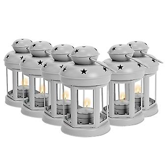 Nicola Spring Candle Lanterns Tealight Holders Metal Hanging Indoor Outdoor - 16cm - Grey - Set of 6