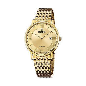 Festina Swiss F20020-2 Men's Swiss Made All Gold Tone Wristwatch