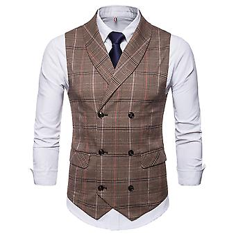 YANGFAN Men's Double Breasted Suit Vest Checked Pattern Waistcoat