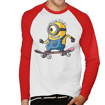 Despicable Me Carl The Minion Skateboarding Men''s Baseball Long Sleeved T-Shirt