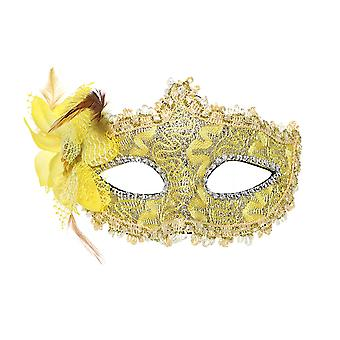 YANGFAN Female Half Face Side Flower Feather Party Performing Mask