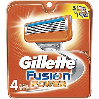 Gillette fusion power razor, refill cartridges, 4 ea
