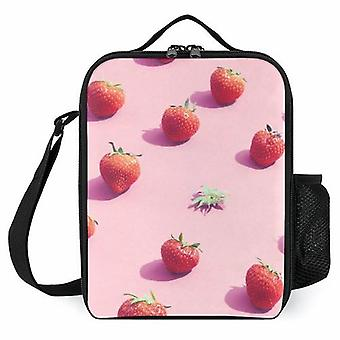 Strawberries In A Row Printed Lunch Bags