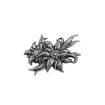 Broche 2x Edelweiss Antique Silver Coloured