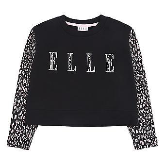 Elle Cheetah Logo Youth Kids Girls Fashion Crew Sweatshirt Jumper Black