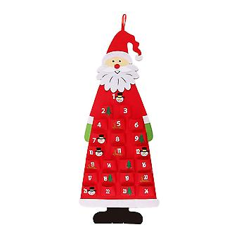 Wall-mounted Santa Claus Shape Felt Calendar for kids Adults Office Home (Red)