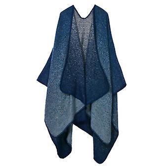 Women's Autumn And Winter Plus Size Navy Blue Warm Scarf Blanket Shawl