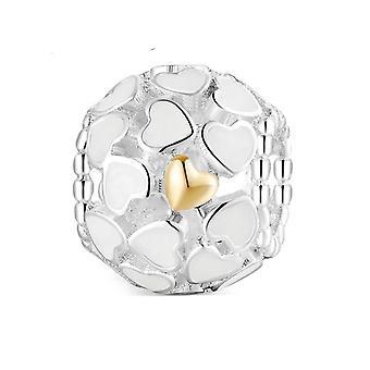 925 Sterling Silver Vit Emalj Guld Hjärta Fina Pärlor Charm Armband