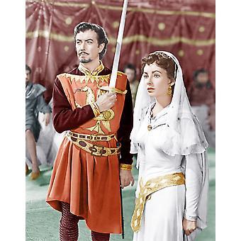 Ivanhoe fra venstre Robert Taylor Elizabeth Taylor 1952 foto Print