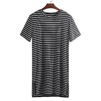 Fashion Striped Underwear Pyjama Summer Sleep Tops Loose Short Sleeve Lounge