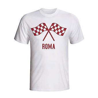 Roma vajande flaggor T-shirt (vit)
