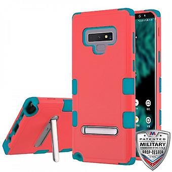 MYBAT TUFF HYBRID PROTECTOR CASE FOR GALAXY NOTE 9 W/ MAGNETIC METAL STAND-NATURAL BABY RED/TROPICAL TEAL