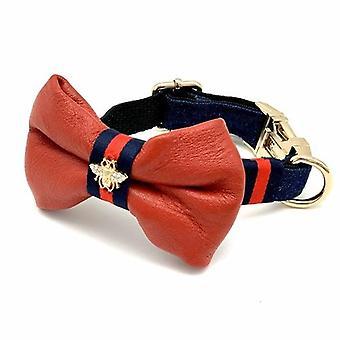 Echtes rotes Leder & Marine Denim Designer Hundehalsband & Fliege