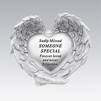 David Fischhoff Silver Heart In Wings Someone Special Memorial Ornament