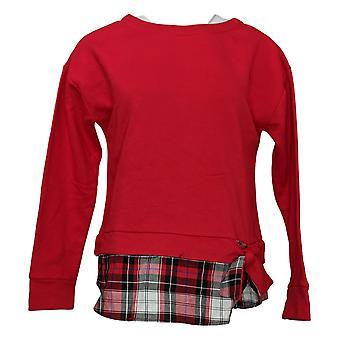Izod Women's Tie front with Plaid Peplam Sweatshirt Red