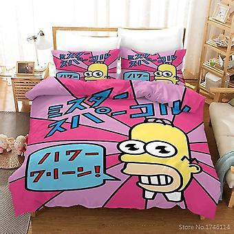 Simpsons Family 3d Cartoon Duvet Cover Pillowcases Set, Linen Bedclothes