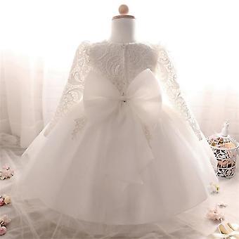 Baby Girls Flower Krst princezná šaty biela 0-6 mesiacov
